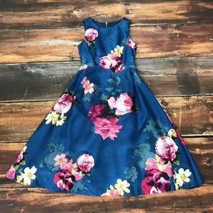 ROZ & ALI Blue Dress Pink Floral Pattern Size 6